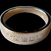 SALE 14K Yellow Gold Diamond Wedding Ring Vintage Mens Size 9
