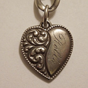 SALE Victorian Sterling Silver Repousse Puffy Heart Charm ~ Engraved 'Rella'