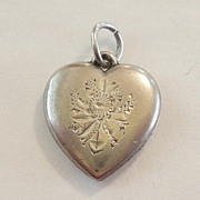 SALE Victorian Sterling Silver Puffy Heart Charm - Bright-cut  - Engraved 'HW'