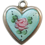 SALE Sterling Silver Puffy Heart Charm - Blue Guilloche Enamel with Pink Rose