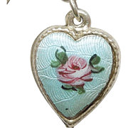 Sterling Silver Puffy Heart Charm - Blue Guilloche Enamel with Pink Rose