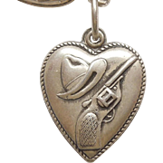 Sterling Silver Puffy Heart Charm - Western Cowboy Hat and Gun