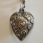 SALE Extra Chubby Sterling Silver Puffy Heart Charm  - Repousse Heart Pierced with Arrow