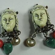 SALE Unusual Selro Selini Signed Asian Princess Clip Earrings with Dangle Beads