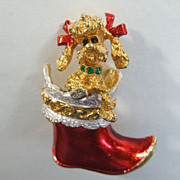 SALE MYLU Christmas Pin - Poodle Puppy Dog in Stocking