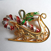 SALE MYLU Christmas Pin - Golden Sleigh with Red & White Striped Candy Cane