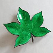 SALE Finn Jensen Spring Green Guilloche Enamel Leaf Pin - Norway Scandinavian