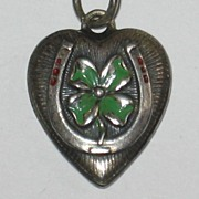 SALE Sterling Silver Puffy Heart Charm ~ Horseshoe and Green Enamel Shamrock ~ Engraved 'Felix
