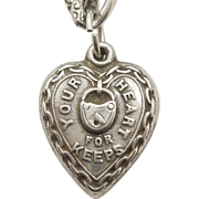 SALE Sterling Silver Puffy Heart Charm - 'Your Heart For Keeps'