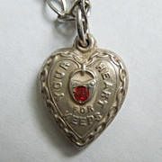 SALE Sterling Silver Puffy Heart Charm - 'Your Heart For Keeps' with Red Stone