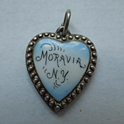 SALE Victorian Sterling Silver Puffy Heart Charm ~ Moravia, N.Y. Enamel ~ Engraved 'R.W'