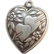 SALE Sterling Silver Puffy Heart - Two Hearts Pierced with One Arrow - Engraved 'Judy'