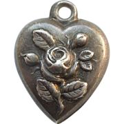 SALE Victorian Sterling Silver Puffy Heart Charm - Rose and Buds - Engraved 'JAF'