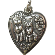 Sterling Silver Puffy Heart Charm - Scottie Dogs