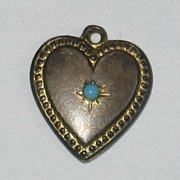 SALE Victorian Sterling Silver Puffy Heart Charm ~ Gold -Washed with Turquoise Stone