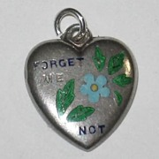 """SALE Victorian Sterling Silver Puffy Heart Charm Enamel """"Forget Me Not"""" ~ Engraved '"""