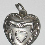 SALE Sterling Silver Puffy Wedding Heart Charm ~ Hands Clasped ~ Are you married to ...