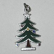 SALE Vintage Wells Sterling Enamel Christmas Tree Charm