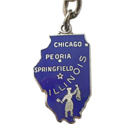 SALE Wells Sterling Silver and Enamel Travel State Map Souvenir Charm - Illinois