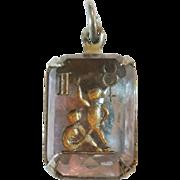 SALE Vintage Glass Crystal Intaglio Astrology Charm – Zodiac Sign Gemini the Twins