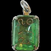 SALE Vintage Glass Crystal Intaglio Astrology Charm – Zodiac Sign Leo the Lion