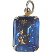 SALE Vintage Glass Crystal Intaglio Astrology Charm – Zodiac Sign Virgo the Maiden