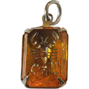 SALE Vintage Glass Crystal Intaglio Astrology Charm – Zodiac Sign Scorpio the Scorpion
