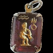 SALE Vintage Glass Crystal Intaglio Astrology Charm – Zodiac Sign Aquarius the Waterbearer