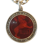 Leo the Lion Sterling Silver and Enamel Zodiac Charm or Pendant - Charles Thomae