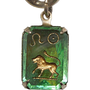 Vintage Glass Crystal Intaglio Astrology Charm – Zodiac Sign Leo the Lion