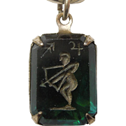 Vintage Glass Crystal Intaglio Astrology Charm – Zodiac Sign Sagittarius the Archer