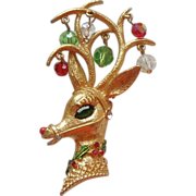 SALE MYLU Rudolph Reindeer Christmas Pin with Dangle Beads