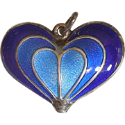 SALE David-Andersen Sterling Silver and Blue Guilloche Enamel Heart Pendant / Charm