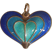 David-Andersen Sterling Silver and Blue  and Teal Guilloche Enamel Heart Pendant / Charm