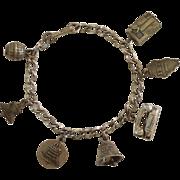 SALE Illinois Bell Telephone Sterling Silver Attendance Award Charm Bracelet - L.G. Balfour