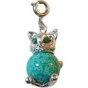 SALE Monet Kitty Cat Charm with Emerald-green Eyes and Green Stone Body