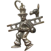 Chimney Sweep with Scaredy Cat on Ladder Charm - 800 Silver