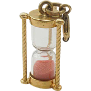 SALE Monet Gold-tone Hourglass or Kissing Timer Charm with Pink Sand