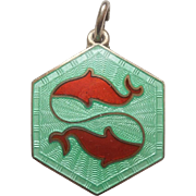 SALE Pisces David Andersen Sterling Silver and Guilloche Zodiac Charm