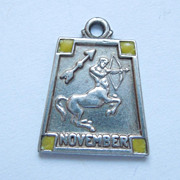 SALE Sterling Silver 1940s Sagittarius (The Archer) November Art Deco Zodiac Charm with Enamel