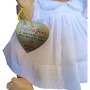 """Vintage Effanbee Dy-Dee Doll Jane Gold Heart Tag for your 15"""" Doll"""