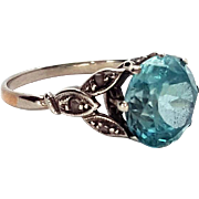 Beautiful Art Deco 18K White Gold Blue Zircon & Diamond Ring