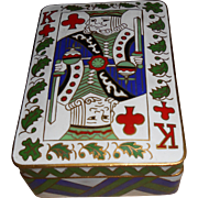 SALE Brass & Enamel  Playing Cards Box & Chinese Playing Cards