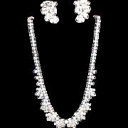 SALE Weiss Rhinestone Earrings & Necklace
