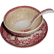 """SALE Clarice Cliff Royal Staffordshire Made in England """"Mayonnaise & Ladle W/ Underplate"""