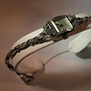 Vintage Eterna ladies 14K. White gold and diamond watch