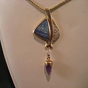 14K Opal and diamond designer pendant