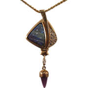 14K Opal and diamond designer pendant