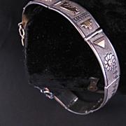 Navajo Sterling and 14 K  gold link bracelet