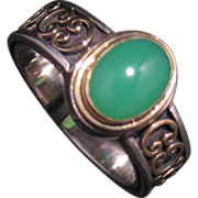 18 k yellow gold and sterling silver vintage Chrysoprase designer ring circa 90's